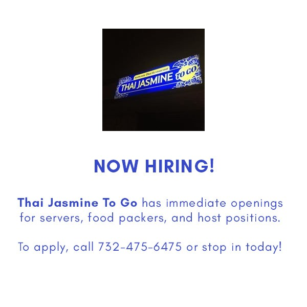 Thai Jasmine To Go – Now Hiring!